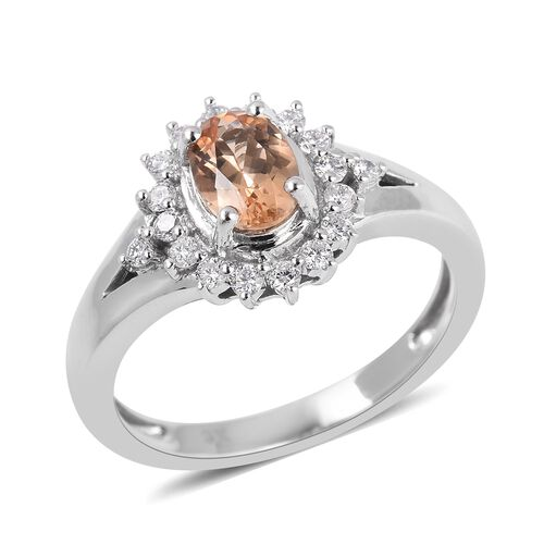 Collectors Edition-9K White Gold AAA Imperial Topaz (Ovl), Diamond (I1/G-H) Ring 1.300 Ct.