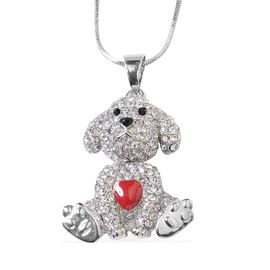 White and Black Austrian Crystal (Rnd) Dog Pendant with Chain (Size 28 and 2 inch Extender) in Silver Tone