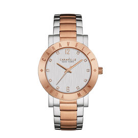 CARAVELLE Two Tone Rose Gold and Silver Etched Bezel Watch - 36mm - up to 9in
