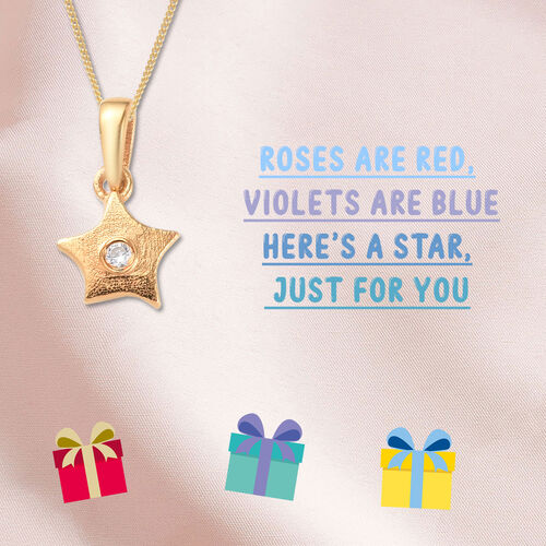 Star Pendant for Kids with Zircon in Gold Plated Silver