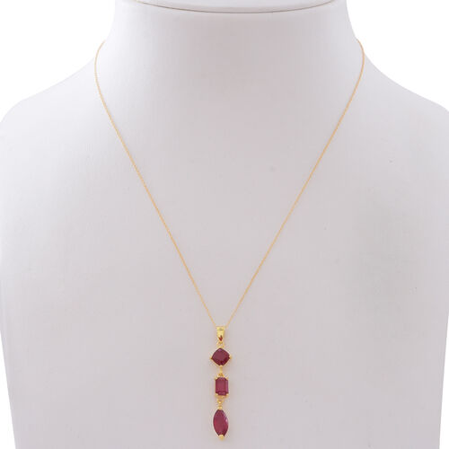 African Ruby (Mrq 2.90 Ct) Pendant with Chain in 14K Gold Overlay Sterling Silver 5.100 Ct.