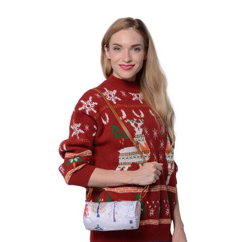 Christmas Theme Multi Colour Tree Print Crossbody Bag - Light Grey