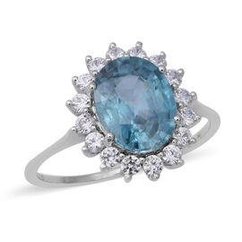 Extremely Rare Size (Ovl10x8 mm 4.1cts) 9K White Gold AA Ratnakiri Blue Zircon and Natural White Cam