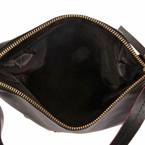 Anya 100% Genuine Leather Black Crossbody Bag with Shoulder Strap (Size 28X25.5X16.5 Cm)