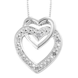 Diamond (Rnd) Heart Pendant With Chain in Platinum Overlay Sterling Silver