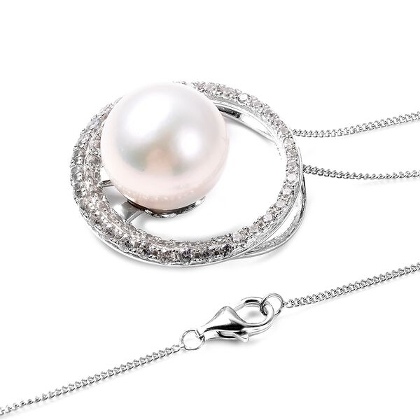 Edison Pearl (Rnd) and Natural Cambodian White Zircon Pendant with Chain (Size 18) in Rhodium Overlay Sterling Silver, Silver wt 5.82 Gms