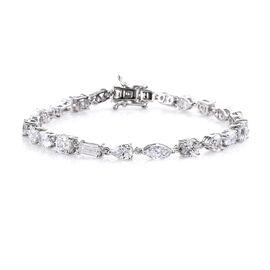 J Francis - Platinum Overlay Sterling Silver Bracelet (Size 7.5) Made with SWAROVSKI ZIRCONIA, Silve