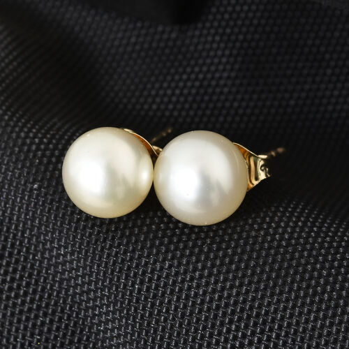 One Time Deal-9K Yellow Gold AA White South Sea Pearl (Rnd) Earrings (with Push Back)