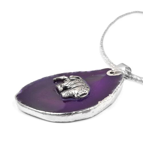 Purple Agate Elephant Embellished Charm Choker Necklace with Pendant (Size 16) in Silver Bond 170.000 Ct
