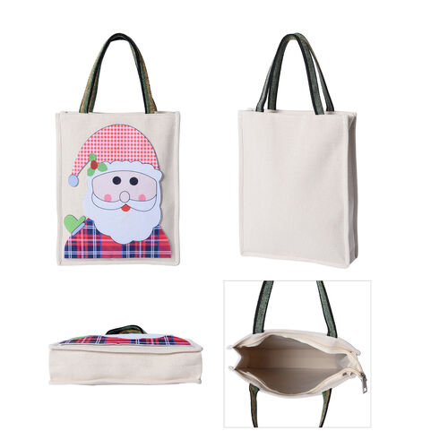 Tote Bag with Santa Claus Pattern (Size 26x8x32 Cm) - Beige