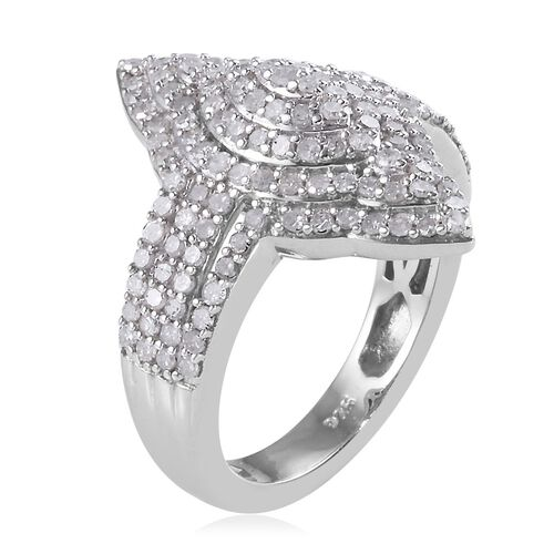 Diamond (Rnd) (G-H) Cluster Ring in Platinum Overlay Sterling Silver 1.00 Ct, Silver wt 5.30 Gms, No. of Diamonds 145pcs