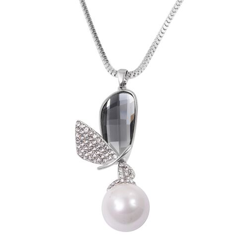 Simulated Pearl (Rnd), Simulated Grey Moonstone and White Austrian Crystal Bird Wings Pendant with Chain (Size 30 with 2 inch Extender) in Silver Plated