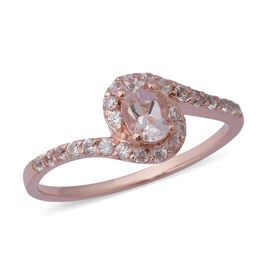 Very Rare 1 Carat Marropino Morganite and Zircon Swirl Halo Ring in Rose Gold Plated Silver