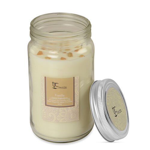 Vanilla Scented Glass Candle with Rare Imperial Topaz (20 CTs)