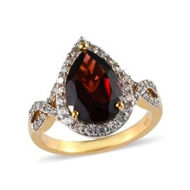 Mozambique Garnet (Pear 14x9 mm), Natural Cambodian Zircon Ring  in 14K Gold Overlay Sterling Silver