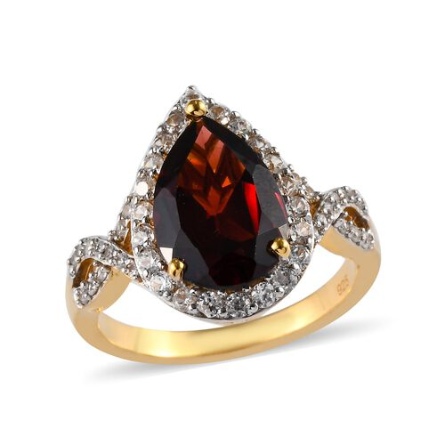 6.03 Ct Mozambique Garnet and Zircon Halo Ring in 14K Gold Plated Sterling Silver