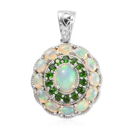 4.47 Ct Ethiopian Welo Opal and Russian Diopside Cluster Floral Pendant in Platinum Plated Silver