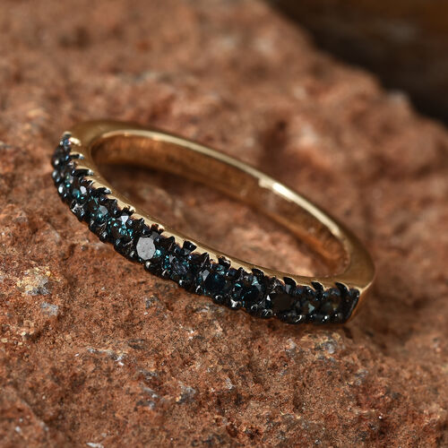 9K Yellow Gold Diamond(Rnd) Half Eternity Ring 0.400 Ct.
