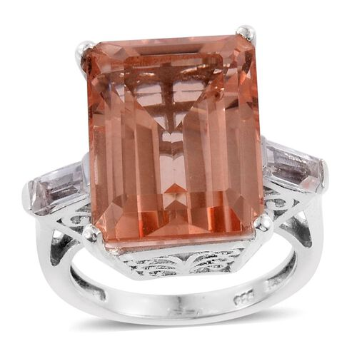 Galileia Blush Pink Quartz (Oct 12.00 Ct), White Topaz Ring in Platinum Overlay Sterling Silver 12.500 Ct.
