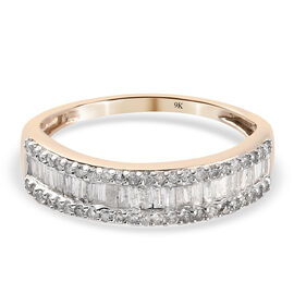 9K Yellow Gold  White Diamond Band Ring in Rhodium Overlay 0.50 ct,  Gold Wt. 2.04 Gms  0.464  Ct.