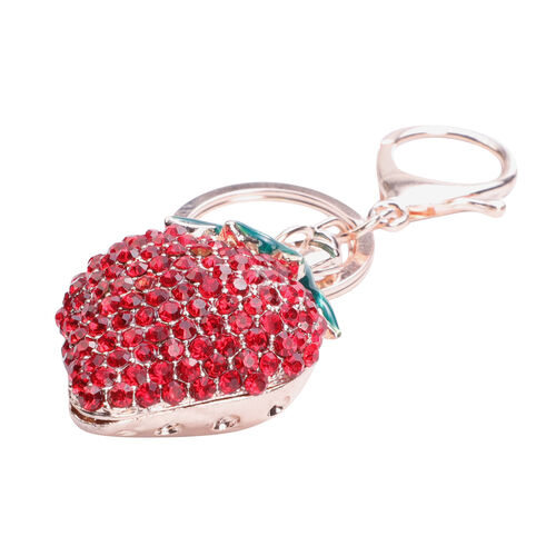 Set of 3 White, Pink and Red Austrian Crystal and Multi Gemstone Strawberry, Orange and Koala Enamelled Keychains in Rose Gold tone