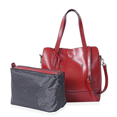 Designer Inspired - 2 Piece Set - 100% Genuine Leather Red Colour Tote Bag (Size 31x30x12 Cm) and Po