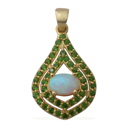 Ethiopian Welo Opal and Russian Diopside Pendant in Sterling Silver 1.71 Ct.