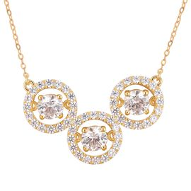 J Francis Made with Swarovski Zirconia Dancing Necklace in Gold Plated Sterling Silver 5.5 Grams