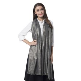 Designer Inspired-Silver Black Colour Scarf with Solid Colour (Size 200x100 Cm)