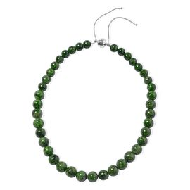 192.5 Ct Russian Diopside Beaded Necklace in Rhodium Plated Sterling Silver 8 Grams 18 Inch