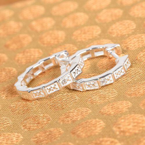 Diamond Full Hoop Earrings in Sterling Silver