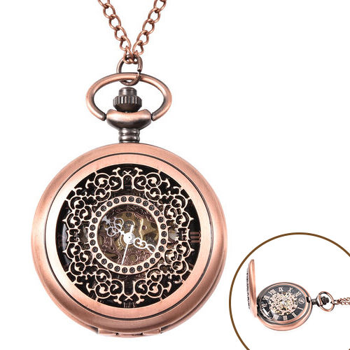 GENOA Automatic Mechanical Hollow-Out Flower Pattern Pocket Watch with Chain in Antique Rose Gold To
