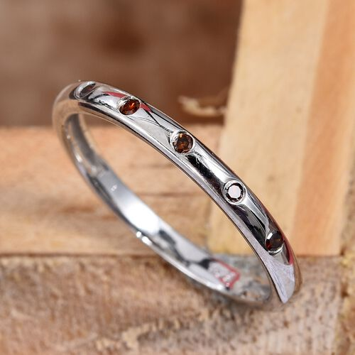 Red Diamond (Rnd) Stacker Band Ring in Platinum Overlay Sterling Silver