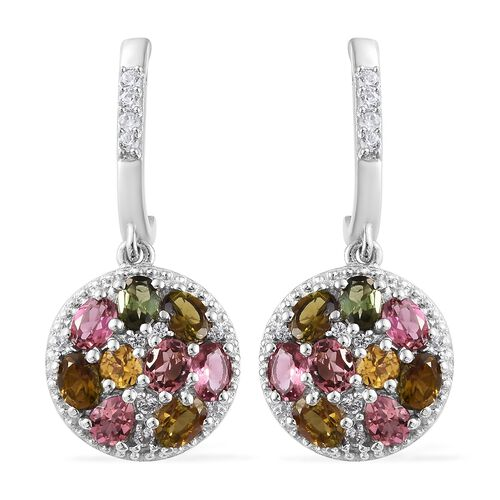Rainbow Tourmaline (Ovl, Pear and Rnd) J Hoop Cluster Earrings (with Push Back) in Platinum Overlay
