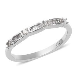Diamond (Rnd and Bgt) Ring in Platinum Overlay Sterling Silver 0.150  Ct.