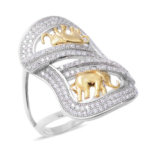 ELANZA Simulated Diamond (Rnd) Elephant Ring in Rhodium and 14K Gold Overlay Sterling Silver, Silver wt 4.79 Gms.