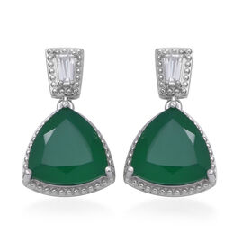 Green Onyx (Trl), Natural White Cambodian Zircon Drop Earrings (with Push Back) in Rhodium Overlay S