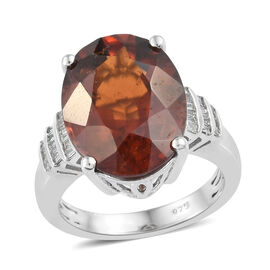 Extremely Rare Size- AAAA Sri Lankan Hessonite Garnet (Ovl 16x12 mm), Diamond Ring (Size S) in Platinum Overl