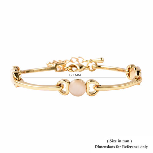 Simulated White Cats Eye Heart Link Bracelet (Size 7-8) in Yellow Gold Tone