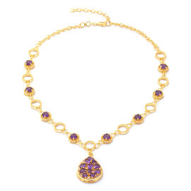 Lusaka Amethyst and Natural Cambodian Zircon Necklace (Size 17 with 2 inch Extender) in Yellow Gold