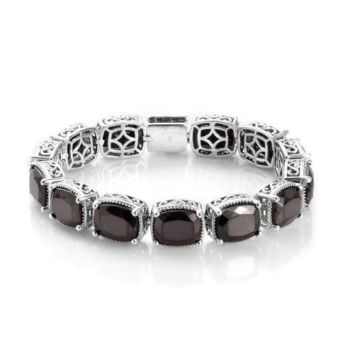 13 Carat Elite Shungite Station Bracelet in Platinum Plated Sterling Silver 7 Inch