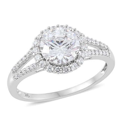 J Francis Made with Swarovski Zirconia Halo Ring in 9K White gold 2.5 Grams