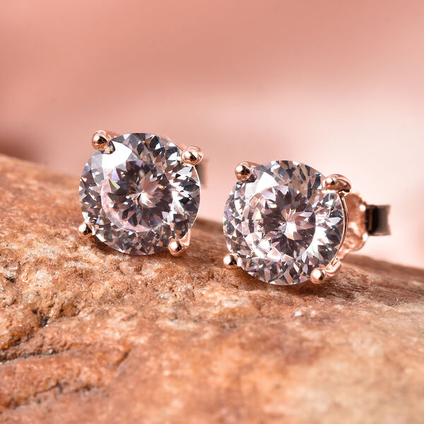 TJC Launch- AAAA Radiant Cut Simulated Diamond Stud Earrings (with Push Back) in Rose Gold Overlay Sterling Silver