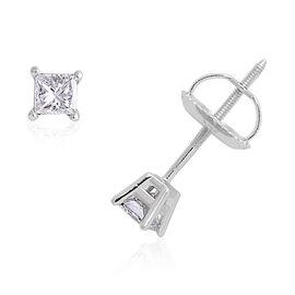 ILIANA 0.33 Carat Princess Cut Diamond Solitaire Stud Earrings in 18K White Gold EGL Certified SI GH