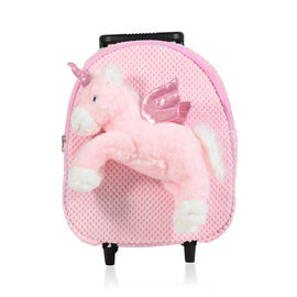 BRAND NEW: Plush Convertable Unicorn Backpack with Trolley and Detachable Cuddly Toy (12 Inches) - U