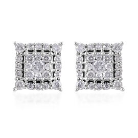 0.50 Ct Diamond Cluster Stud Earrings (with Push Back) in 9K White Gold SGL Certified I3 GH