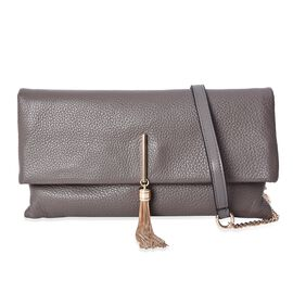 100% Genuine Leather Crossbody Bag with Detachable Shoulder Strap (Size 29.5x3x16 Cm) - Grey