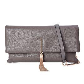 100% Genuine Leather Crossbody Bag with Detachable Shoulder Strap (Size 29.5x3x16 Cm) - Grey