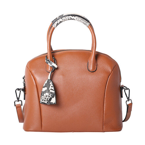 100% Genuine Leather Handbag with Detachable Shoulder Strap and Zipper Closure (Size 32x17x27 Cm) -