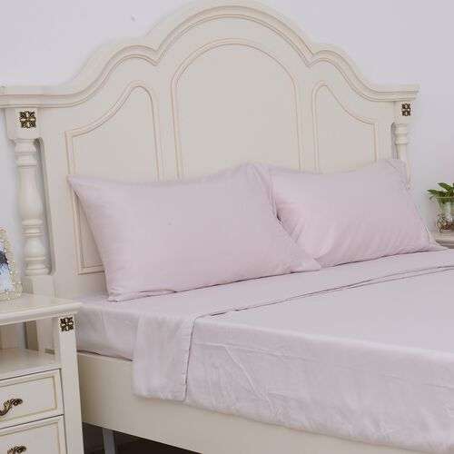 King Size Set of 4- Crepe Pink Colour Matt Satin Duvet Cover (Size 225x220 Cm), Fitted Sheet (Size 200x150x30 Cm) and 2 Pillow Cases (75x50 Cm)